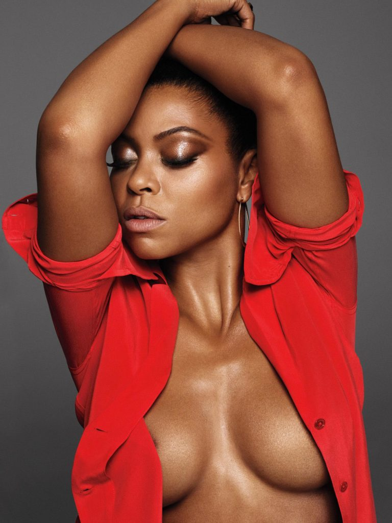 Taraji P Henson showing her exposed cleavage