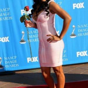 Meagan Good in pink dress (1)