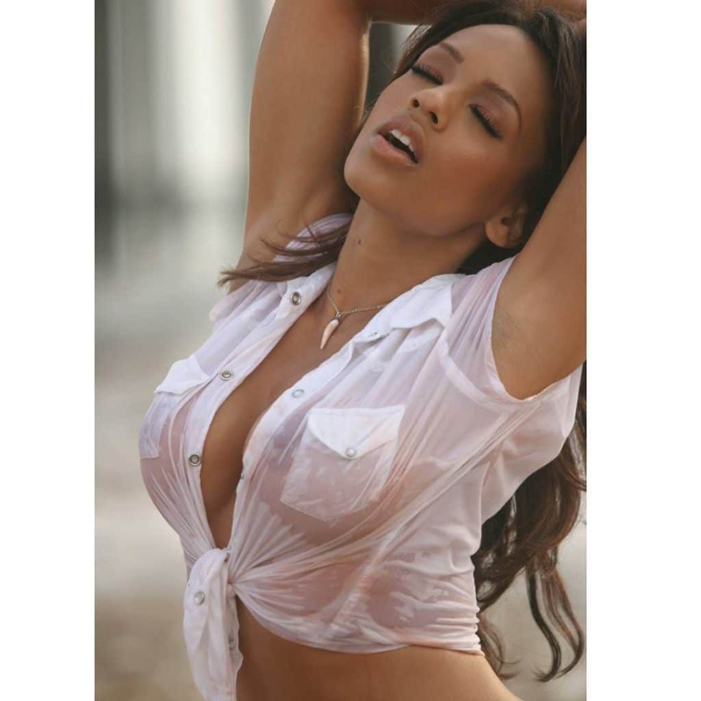 Melyssa Ford white crop top wet