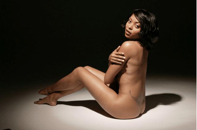 Nude pic of Taraji sitting on floor