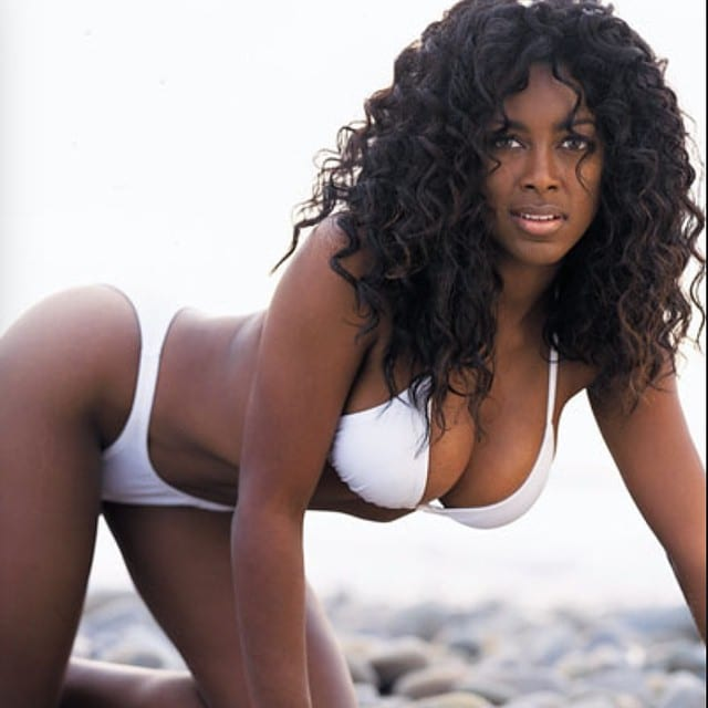 ebony model nude kenya moore - Kenya Moore modeling photo white bikini