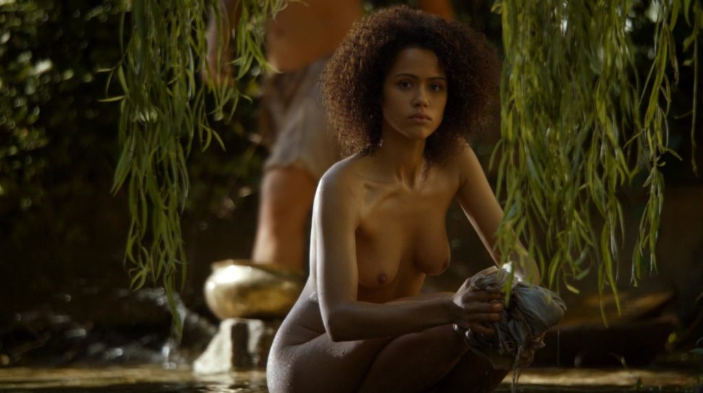 Nathalie Emmanuel topless in GoT