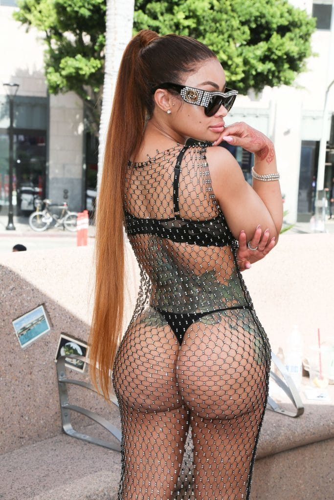 Blac Chyna in See through outfit with a high ponytail (2)