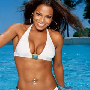 Janet Jackson in a white bikini with abs