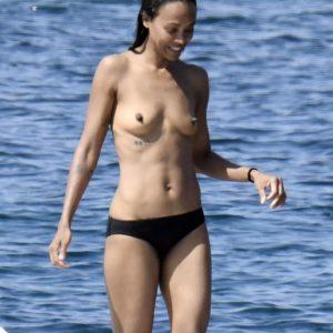 Zoe Saldana topless in Sardinia
